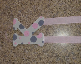 Pink & Grey Custom 'K' Monogram Hair Bow and Barrette Holder
