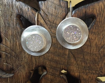 Dazzling disco silver drop druzy earrings