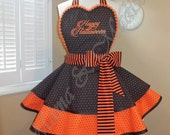 HAPPY HALLOWEEN Custom Embroidered Womans Retro Apron With Tiered Skirt and Heart Shaped Bib