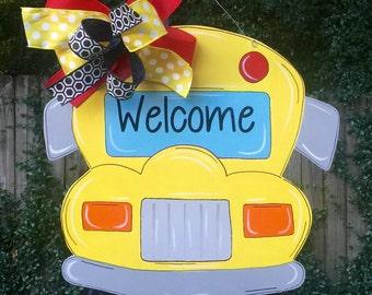 School Bus Door Hanger, Teacher Door Hanger, Back To School, Teacher, Teacher's Classroom, Welcome Sign, Personalize