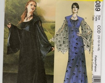 Gothic Gown Renaissance Dress Edwardian Frock Elizabethan Steampunk Size 10 12 14 16 Adult Costume Sewing Pattern McCall's 4089 Plus Size