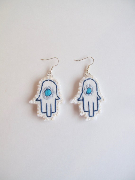 Hamsa embroidered earrings good luck evil eye Hand of Fatima Hand of Mary Hand of Miriam fiber jewelry An Astrid Endeavor Summer trends