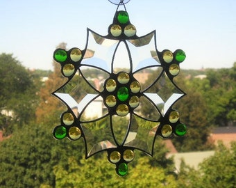 Stained Glass Snowflake Suncatcher Stained Glass Snowflake Winter Snowflake Gold and Green Glass Art Handcrafted Made in USA  rafted