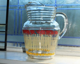 Vintage Glass Pitcher Red Flowers White Picket Fence with Ice Lip Mid Century Decor