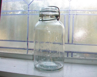 Antique Double Safety Jar Half Gallon Mason Jar Canning Jar