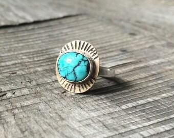 Turquoise Ring // Gold // Solar // Celestial Ring // Bohemian // Tribal // Boho Chic