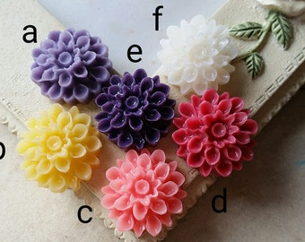 17 mm Assorted Colour Resin Dahlia Flower Cabochons (.am)