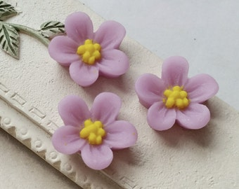 13 mm Opera-mauve Colour Water Melon Resin Flower Cabochons (.sg)(zzb)