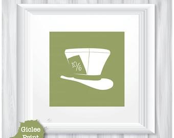 Mad Hatter Illustration 12x12 Original Abstract Art Print: Green Giclee Fine Art Print Home Decor Wall Art