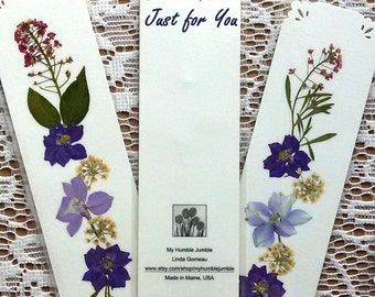CUSTOM MADE BOOKMARKS - Pressed Flower Bookmarks, Wedding Favors, Bride and Groom Bookmarks, Group Gifts, Book Club, Fundraising