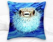 Puffer Fish Pillow | Beach Decor | Blow Fish | Ocean Decor | Throw Pillow | Pufferfish | Decorative Pillow | Sea Life Pillows | Fish Pillow