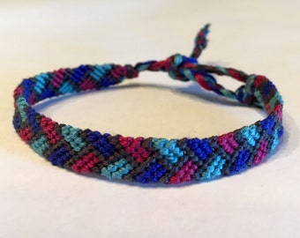 Cranberry & Blues Braided - Friendship Bracelet