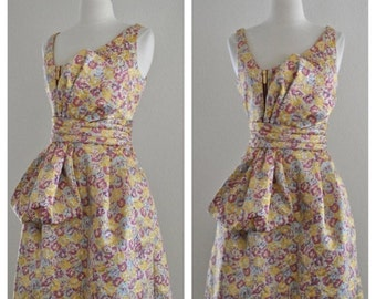 ON SALE 60s Style Metallic Lame Lurex Floral Dress with Bow Front in Yellow Metallic Gold with Purple Pink and Light Blue Size Small Medium
