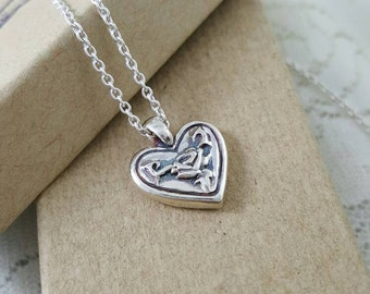 Sterling silver Rose and Heart pendant, Silver Rose necklace, silver heart with rose, vintage rose necklace, handmade silver heart necklace