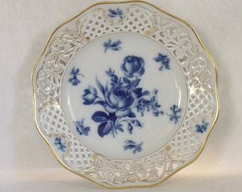 Old Schumann Dresden Plate Cottage Roses Cobalt Blue Gold Filigree Scalloped Edge Reticulated Pierced