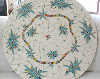 Mosaic Table Top Parrot Ivory Decor Cafe Table