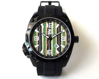 Recycled Skateboard Watch - Green, Black & Maple