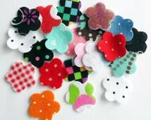 Felt Flower . Printed felt flower. Set 20 pieces, felt shapes, felt die cut, appliques,