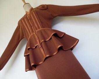 SALE :)))) BILL GIBB .  Caramel Story . S . Sensational Wool Blend Knit Sweater Set Bustle Bustled Peplum Jacket Skirt Suit 80s