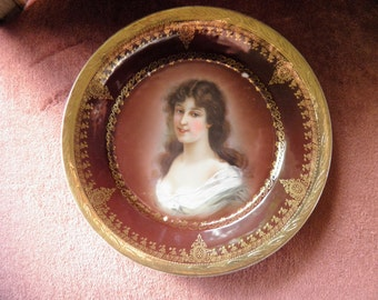 French Portrait Plate, Marked Royal Vienna, Beautiful Women.
