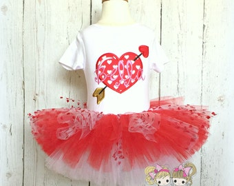 Heart tutu outfit - Valentine's Day heart outfit - girls Valentine's Day outfit - red heart tutu - personalized Valentine's Day outfit