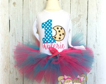 Cookie birthday outfit - 1st birthday cookies tutu outfit - chocolate chip cookie tutu outfit - cookie themed birthday outfit for girls