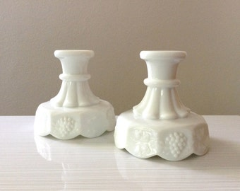 Milk Glass Candle Holders - Westmoreland Candle Holders - Pair of Milk Glass Candle Holders