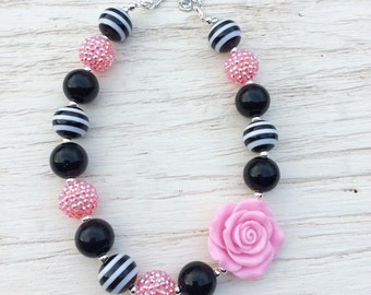 little girl chunky bead necklace pink black zebra bubble gum chunky baby necklace big girl necklace big bead necklace