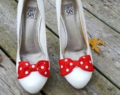 Red White Bow Shoe Clips,Wedding Accessories, Bridal Shoe Clips, Womens Shoe Clips, Shoe Clips for Shoes, MANY COLORS, Decorative Shoes