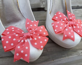 Coral Polka Dot Shoe Clips, Bows, Bridal Shoe Clips,Grosgrain Bow Shoe Clips,  Shoe Clips Shoes Bows, Shoe Clips for Wedding Shoes,