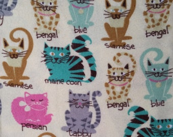 Cotton Flannel Fabric, cats  on creamy yellow -By the Yard- bengal, siamese, tabby, persian, maine coon  baby, cute, blanket, soft, warm