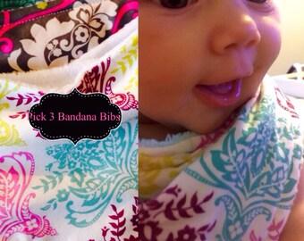 Baby/Toddler Bandana Bibs Pick 3 Girls You choose Fabrics.