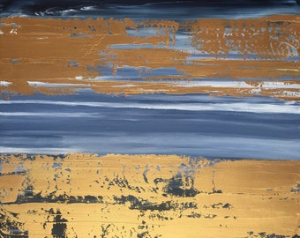 Large Abstract Painting 30x30 Blue and Gold