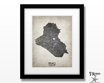 Iraq Map Art Print - Home Is Where The Heart Is Love Map - Original Custom Map Art Print Available in Multiple Size and Color Options