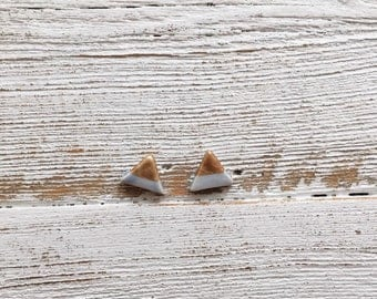 Ceramic Triangle Earrings, Periwinkle, Rose Gold, Unique Gift, Modern, Minimal, Gift for Her, Ceramics, Fashion, Ceramic Jewelry