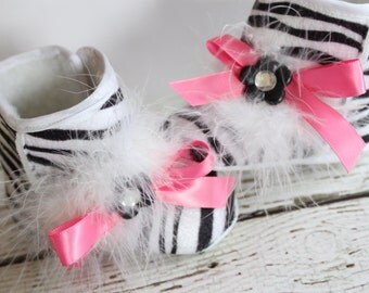 Baby Girl Zebra Boots with Fur & Cute Pink Ribbon Soft Sole Crib Shoes Baby Shoes, Animal Print Booties Petite Flower BABY GIRL Gift