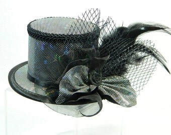 Mini Tophat Silver Fasinator Cocktail Bridesmaid Church Formal Derby Hat Prom Gown Cappelli Chapeau Bibi Voilette Hütchen Ladieshat