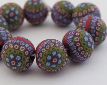 10 pieces Millefiori beads, Rose Flower  beads, Multiple flower , DIY Crafts, Jewelry Supply, handmade.