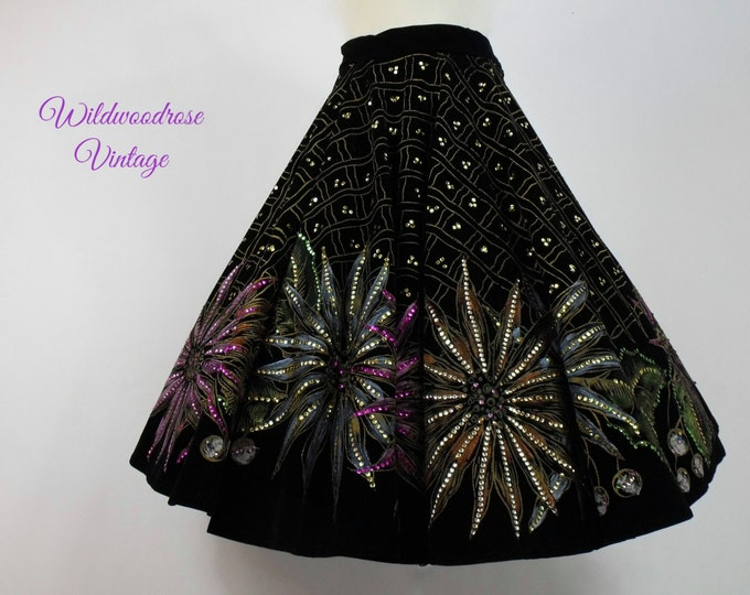 1950's Novelty Circle Skirt - 50's Hand Painted Black Velvet Circle Skirt - Mexican Floral Hand Painted Novelty Skirt - Sequins and Flowers