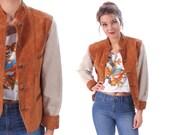 Vintage SUEDE JACKET 70s Woman Burnt Brown Leather / Linen Coat Two Tone Bohemian Hippie Hipster Short Boyfriend Retro Brown Field Medium