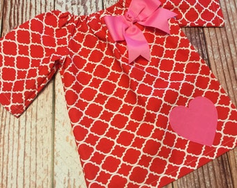 Valentine's Day Dress - Heart Dress - Peasant Dress - Girl, Toddler Girl, Baby Girl - Size 12M thru 7/8 - Red Quatrefoil