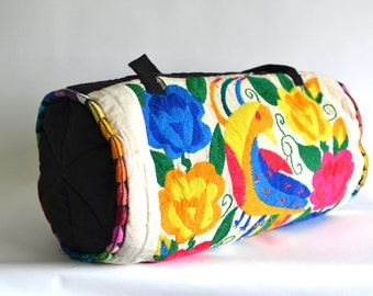 Vintage Soft Cotton Yoga Duffle Weekender Embroidered Rainbow Trim Bird Motif