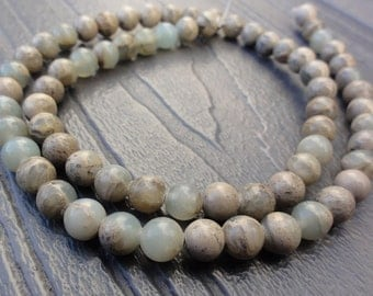 "6mm Aqua Terra ""Jasper"" Beads -  6mm Round Smooth - Full or Half Strand - Natural - Green & Tan - Impression Stone - Soft Onyx Marble"