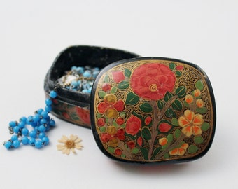 Vintage Black Lacquer Jewelry Box - Floral Trinket Khokhloma Box - Vintage Hand Painted Folk Art
