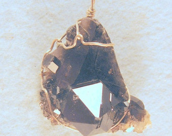 Self Healed Smoky Quartz Arkansas Crystal Cluster Wire Wrapped Pendant