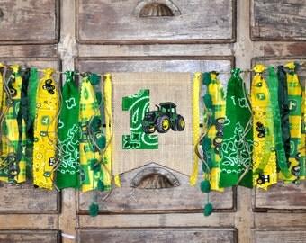 John Deere fabric first birthday highchair rag banner, green & yellow tractor, cake smash photo prop, I am 1 one highchair rag garland