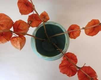Turquoise Art Deco Style USA Pottery Vase