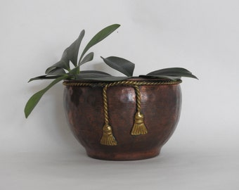 Mid Century Modern Hammered Copper Planter or Bowl