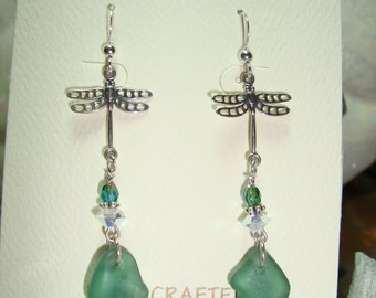 Natural Sea Glass & Dragonflies Earrings
