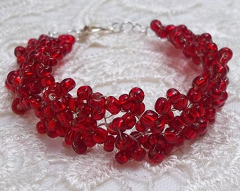 Ruby Red Crystal Bracelet, Romantic, Wedding, Bridal, Flowergirl, Special Occassion, Sweetheart, Prom, Gift